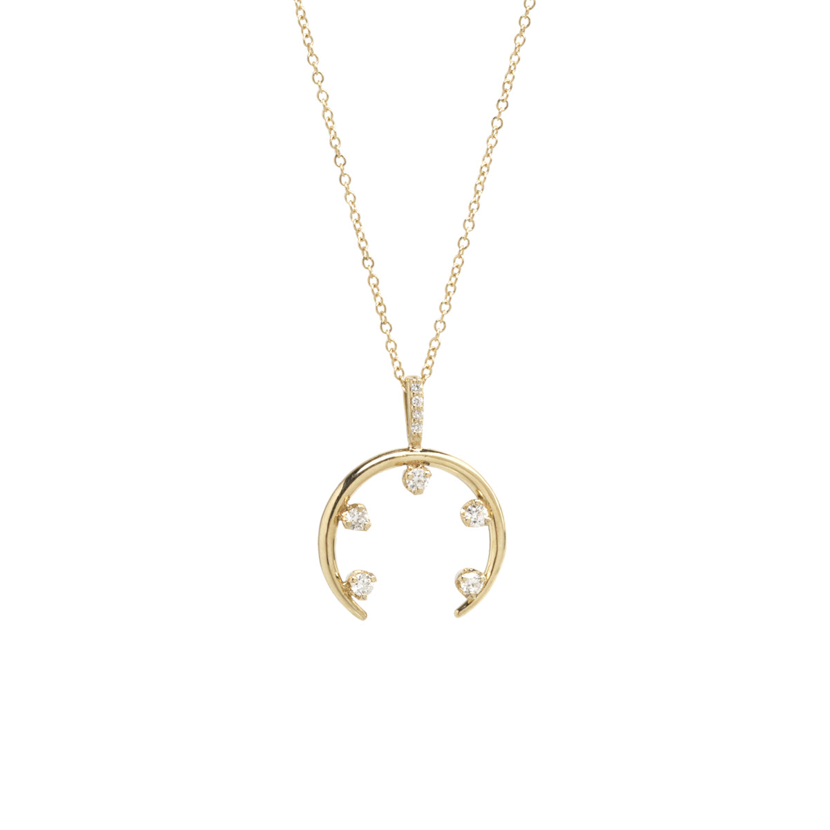 14k horn 5 prong diamond necklace