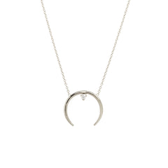 14k horn prong diamond necklace
