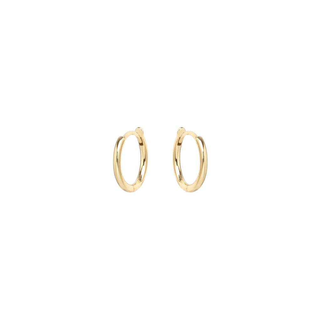 14k huggie hoops with hinged closure