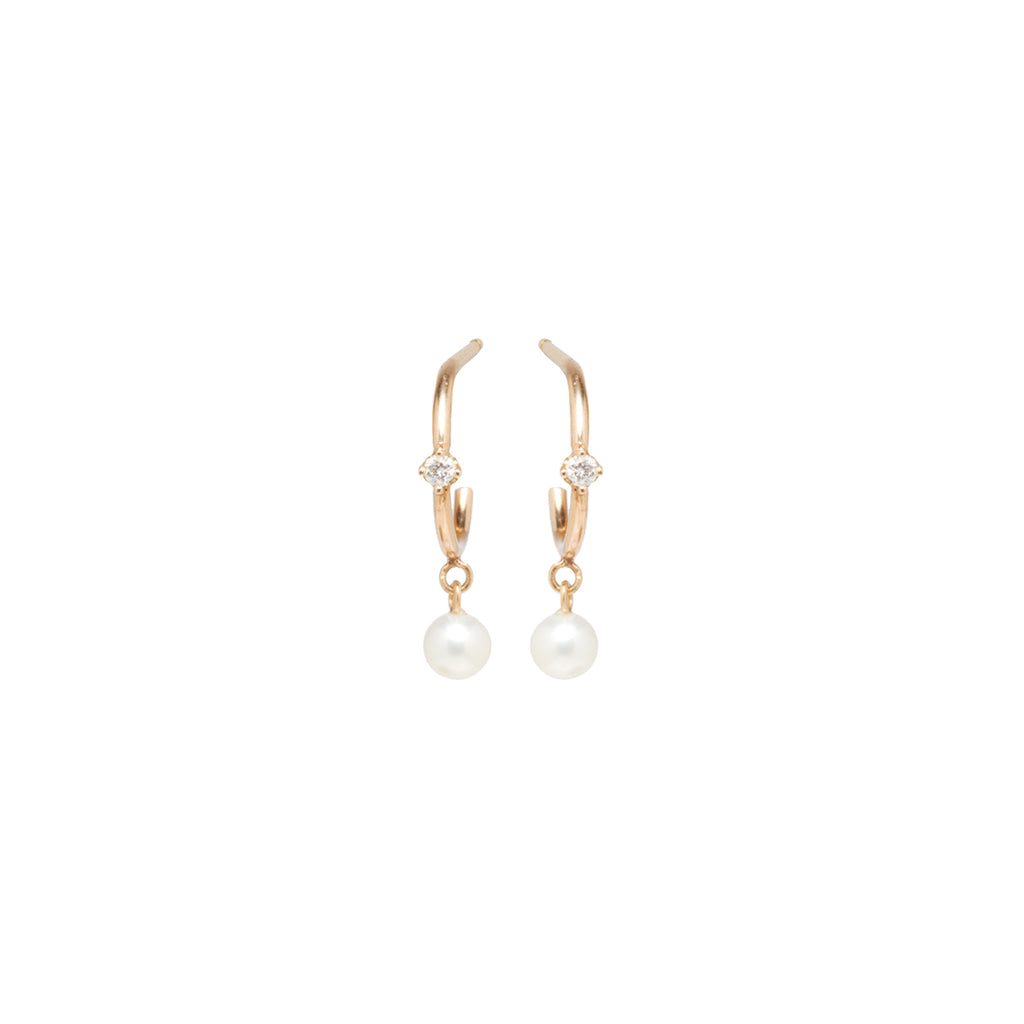 14k pearl dangle & prong diamond thin huggie hoops