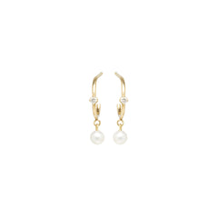 14k pearl dangle and prong diamond stud thin huggie hoop earrings