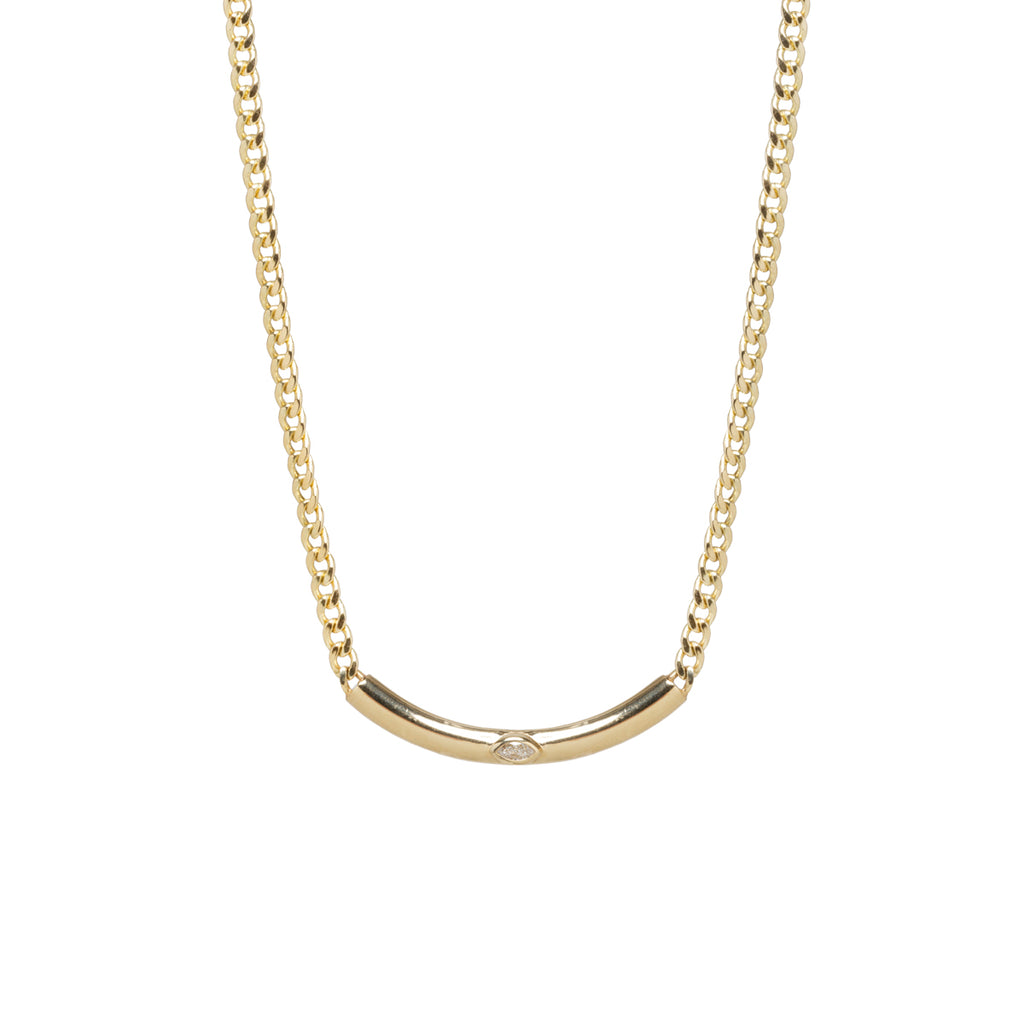 14k small curb chain with marquise diamond curved chubby bar necklace