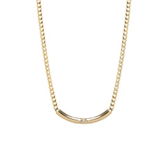 14k  small curb chain with marquis diamond curved chubby bar necklace