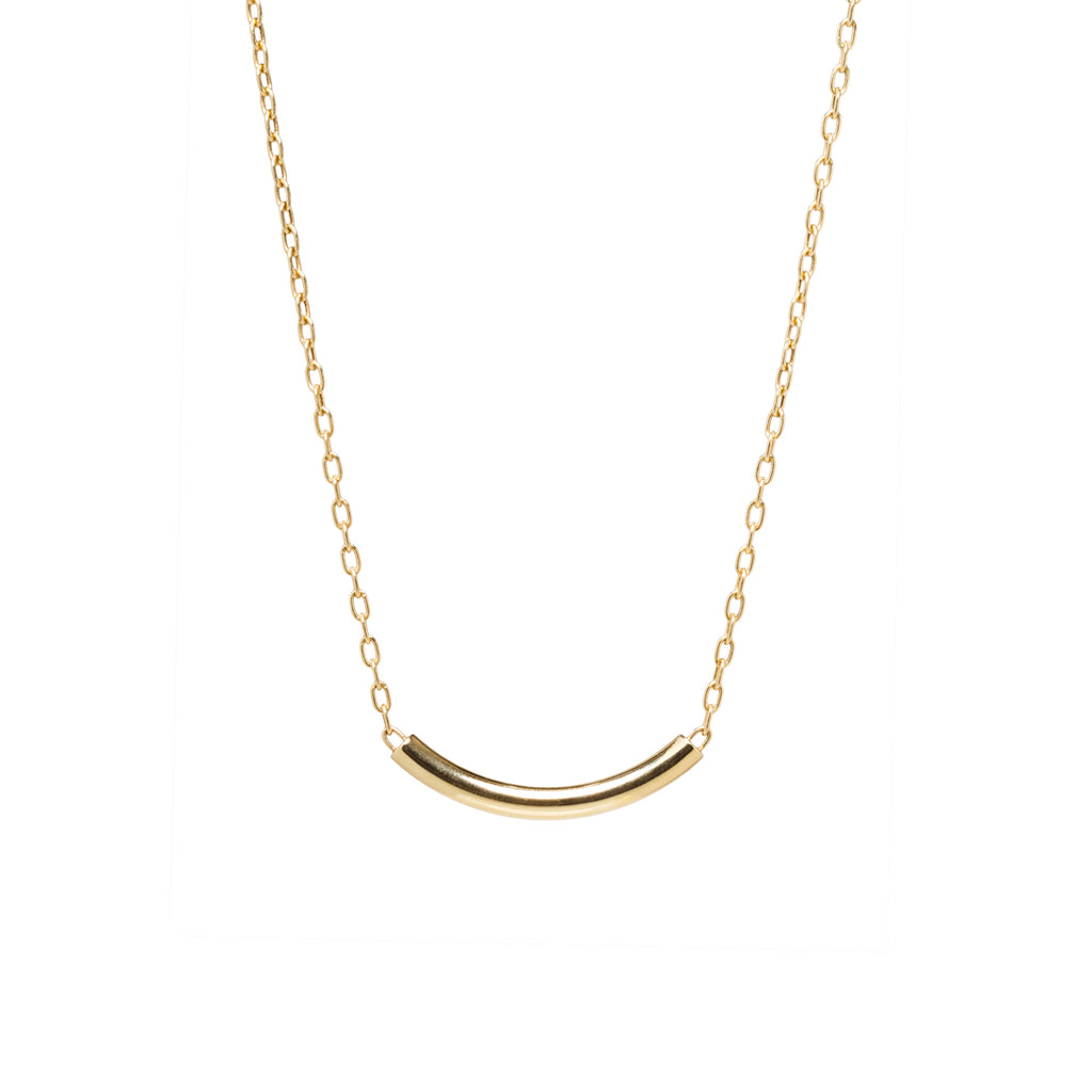 14k curved chubby bar necklace with small oval link chain