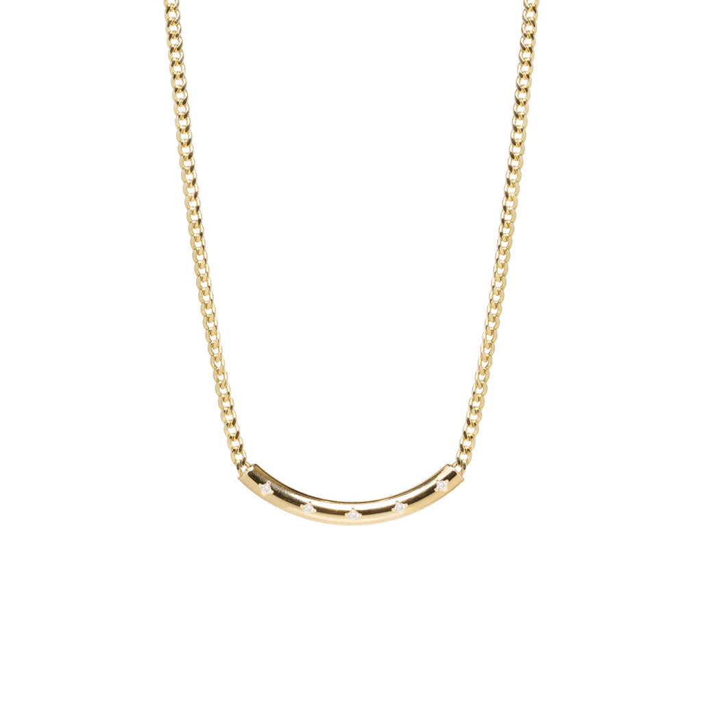 14k  x-small curb chain necklace with 5 diamond curved chubby bar necklace