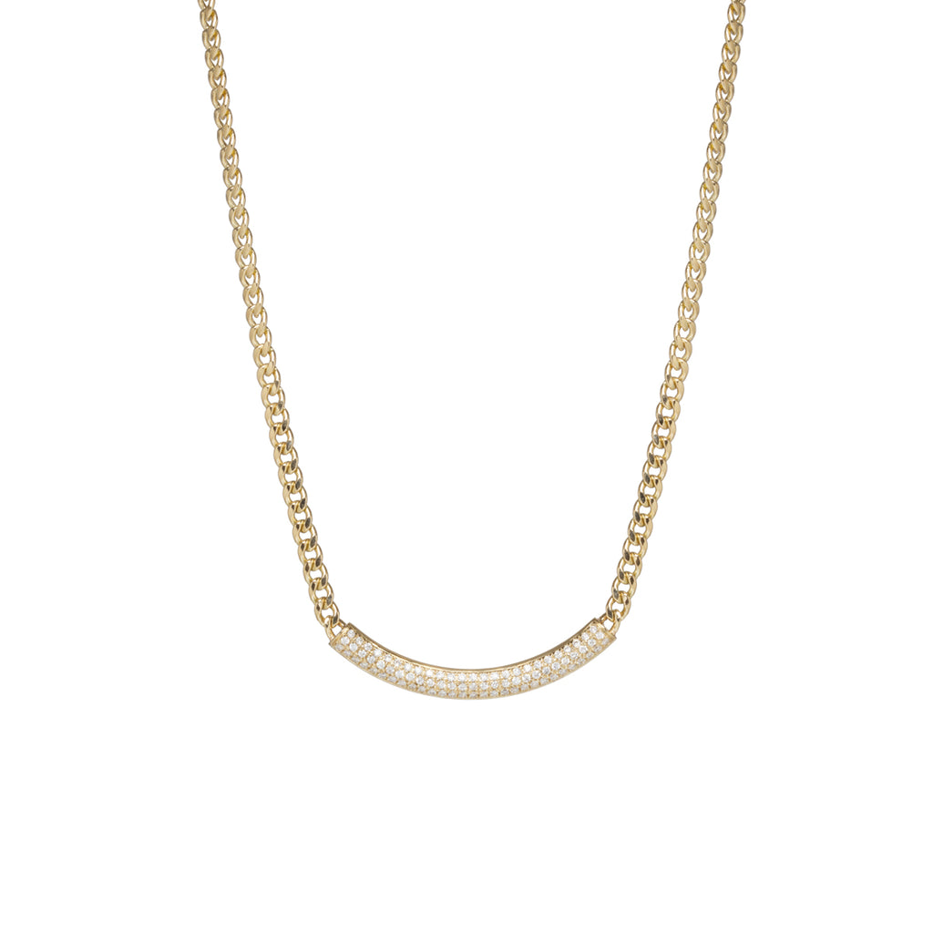 14k small curb chain necklace with pave diamond curved chubby bar