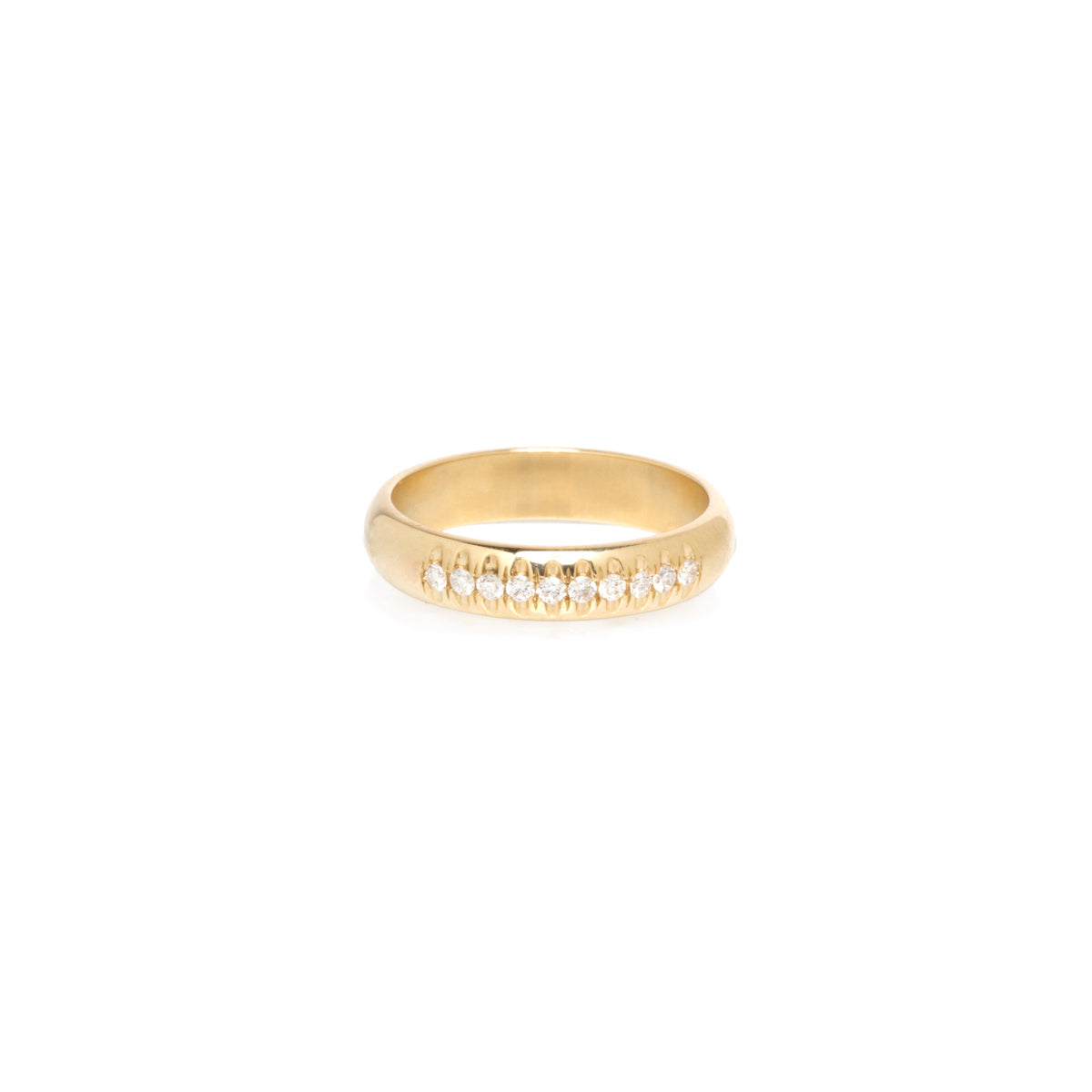 14k half round ring with french set diamonds
