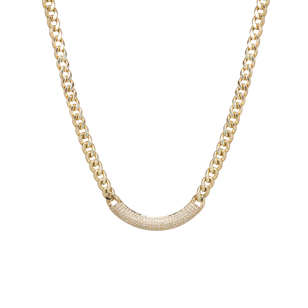 14k large curb chain necklace with pave diamond curved chubby bar