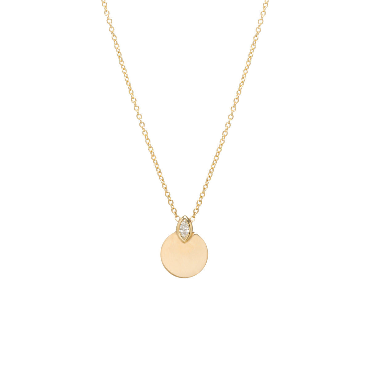 14k marquis diamond horizon disc necklace