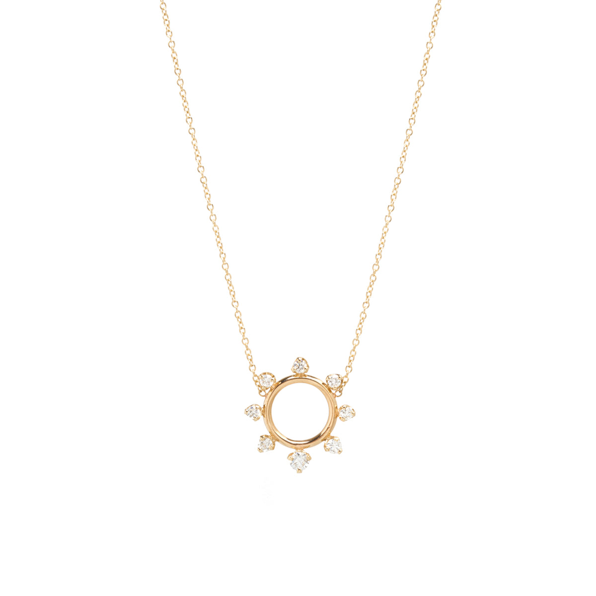14k prong diamond circle necklace