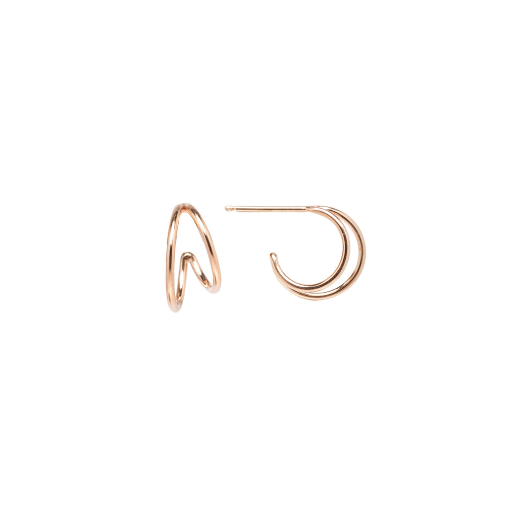 14k double wire huggie hoops