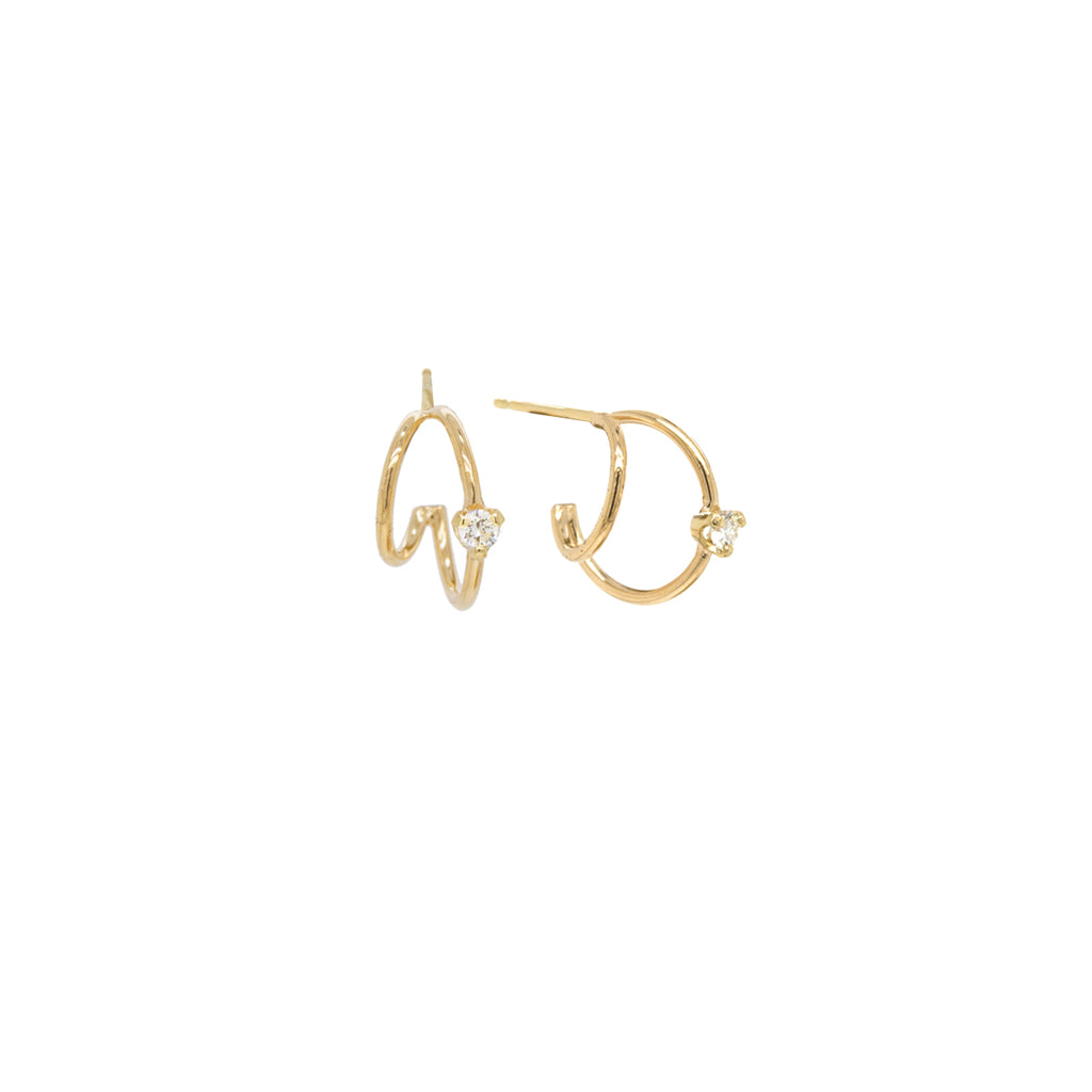 14k prong diamond double wire huggie hoops