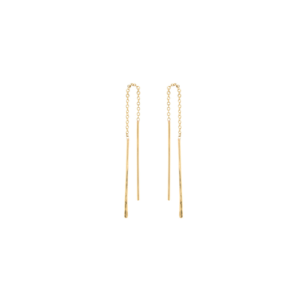 14k short hammered wire threader earrings