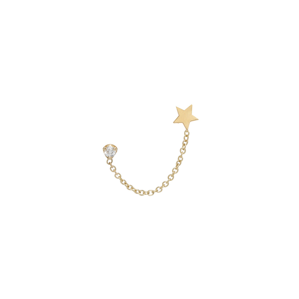 Zoë Chicco 14kt Yellow Gold Itty Bitty Star & Diamond Chain Double Stud Earring