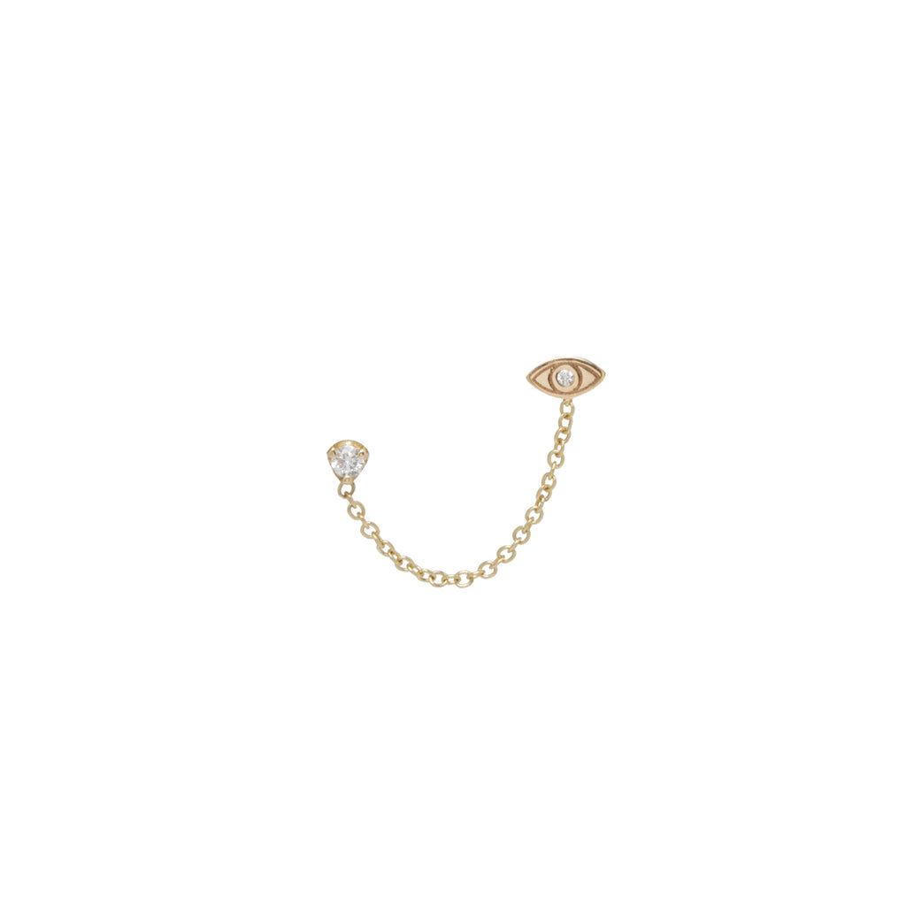 14k itty bitty evil eye & diamond chain double stud earring
