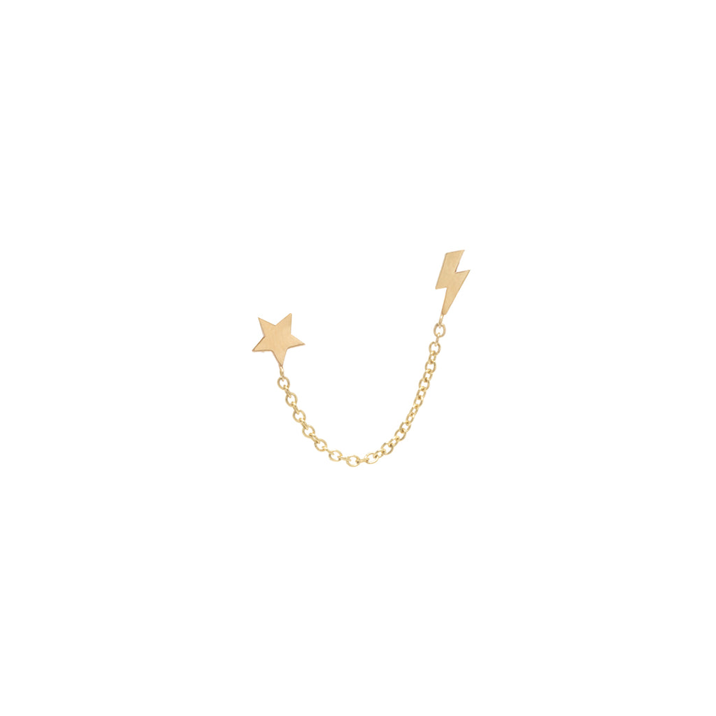Zoë Chicco 14kt Yellow Gold Itty Bitty Star & Lightning Bolt Chain Double Stud Earring