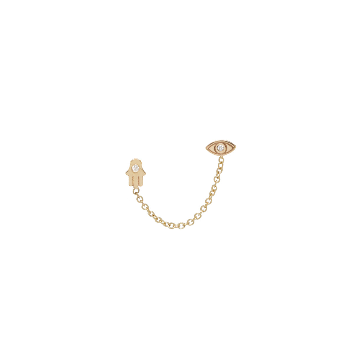 14k itty bitty diamond evil eye & hamsa double stud earring