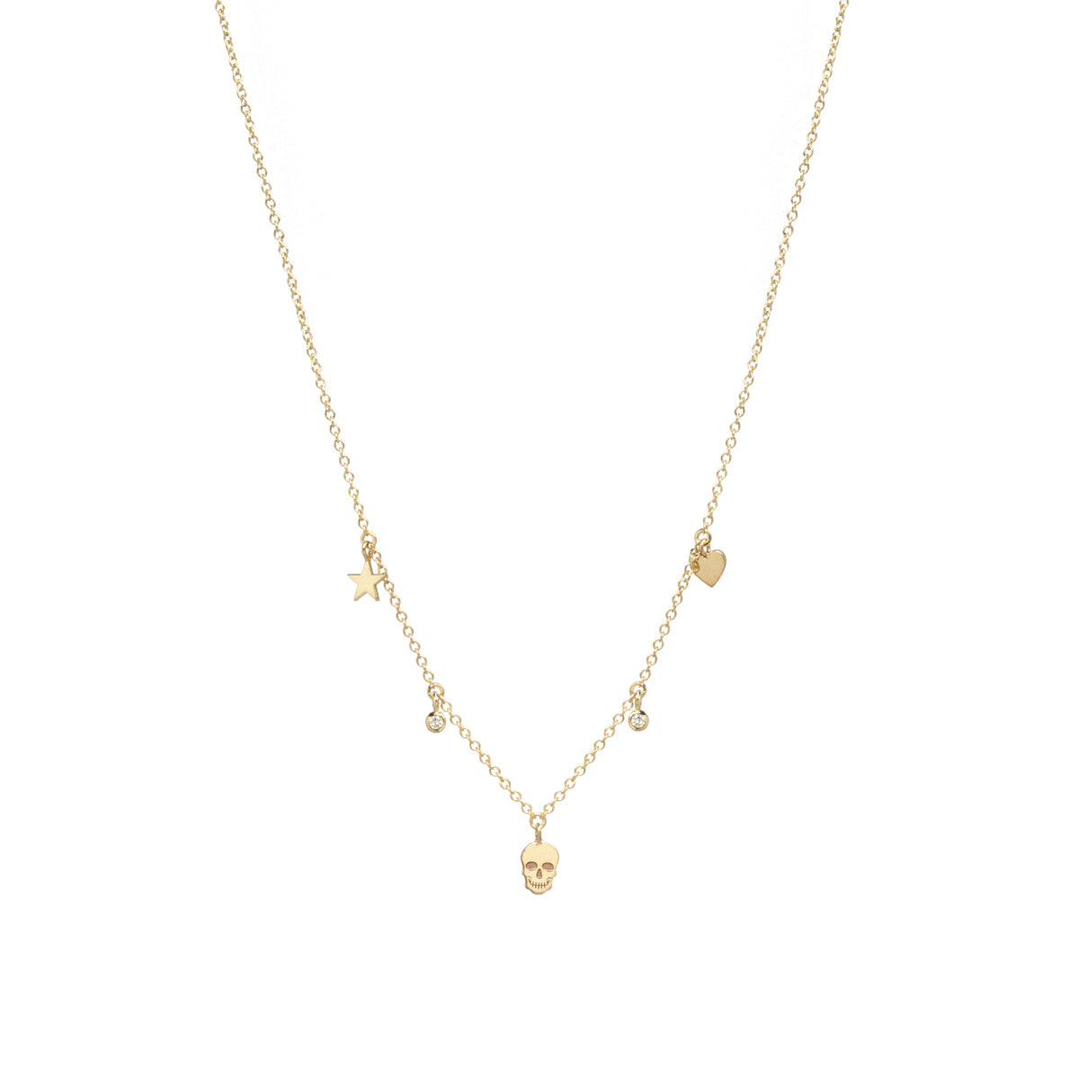 14k 3 itty bitty dangling skull, heart and star diamond necklace