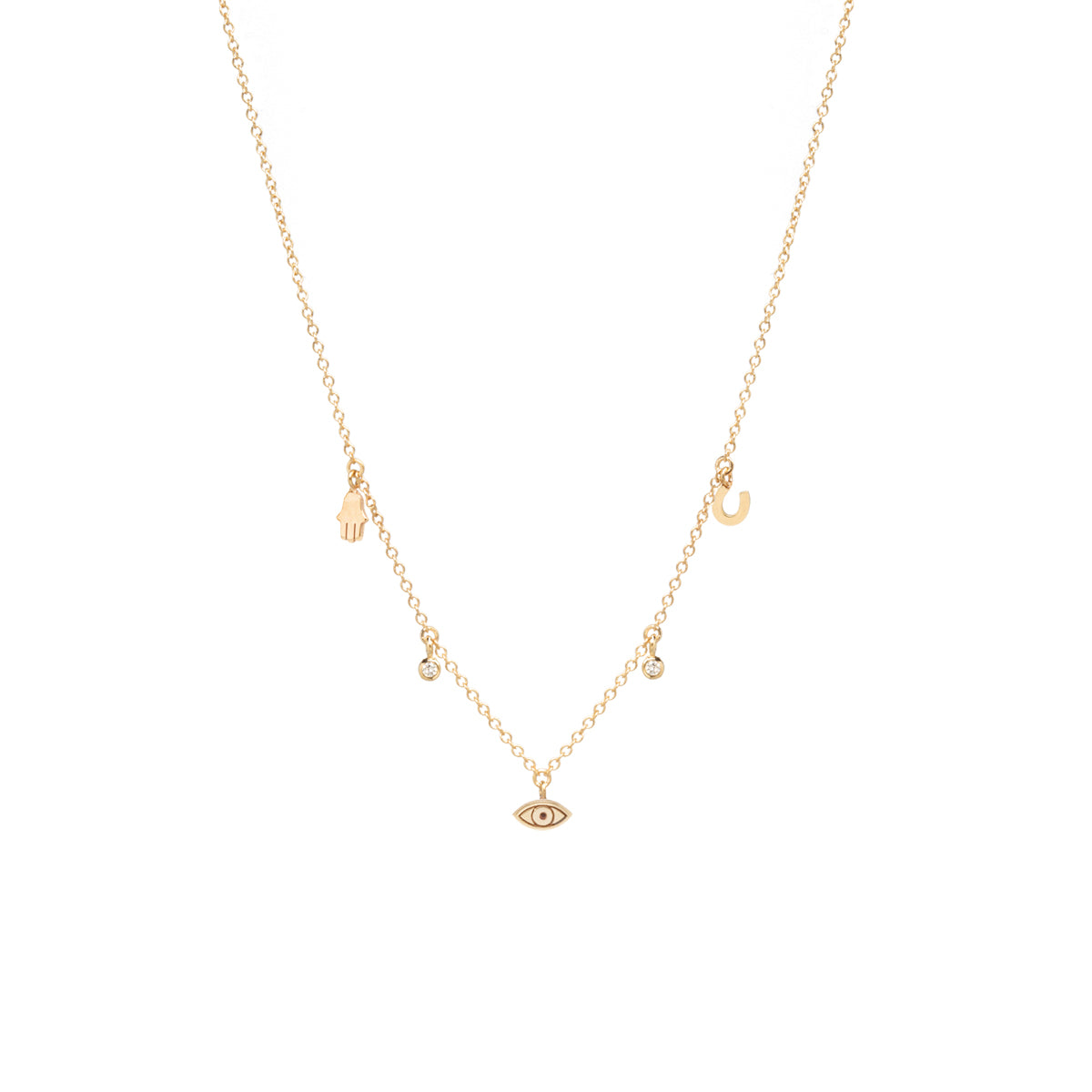 14k itty bitty Luck and Protection dangling diamond necklace