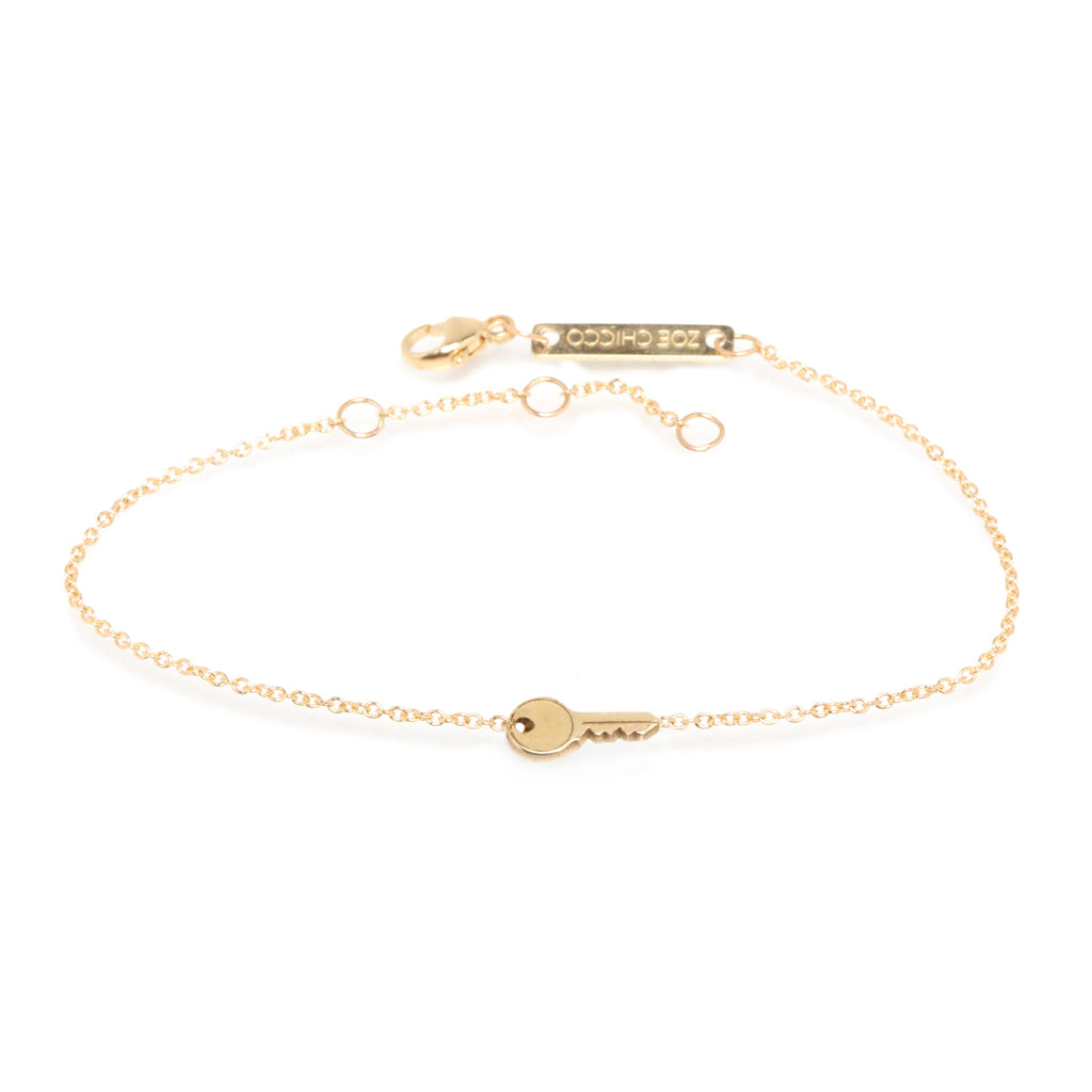 Zoë Chicco 14kt Yellow Gold Itty Bitty Key Bracelet
