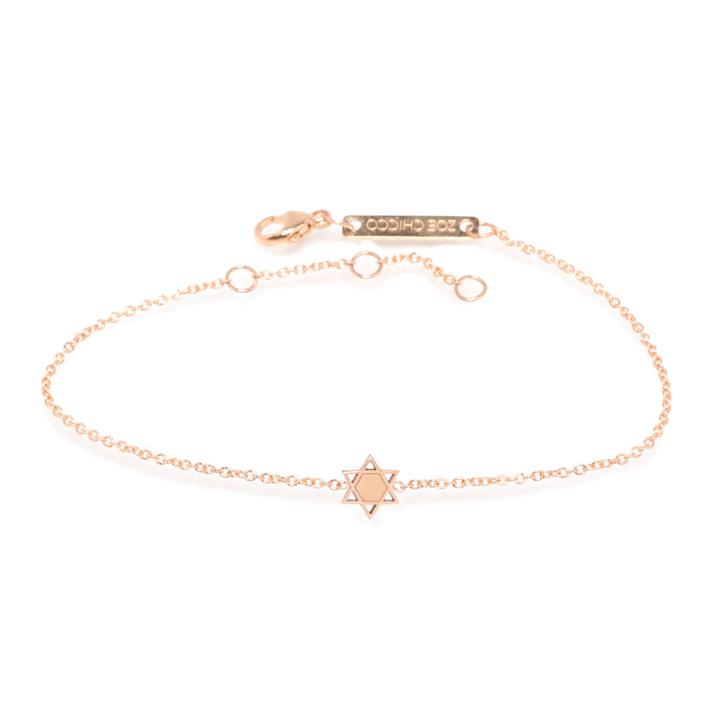 14k itty bitty star of david bracelet