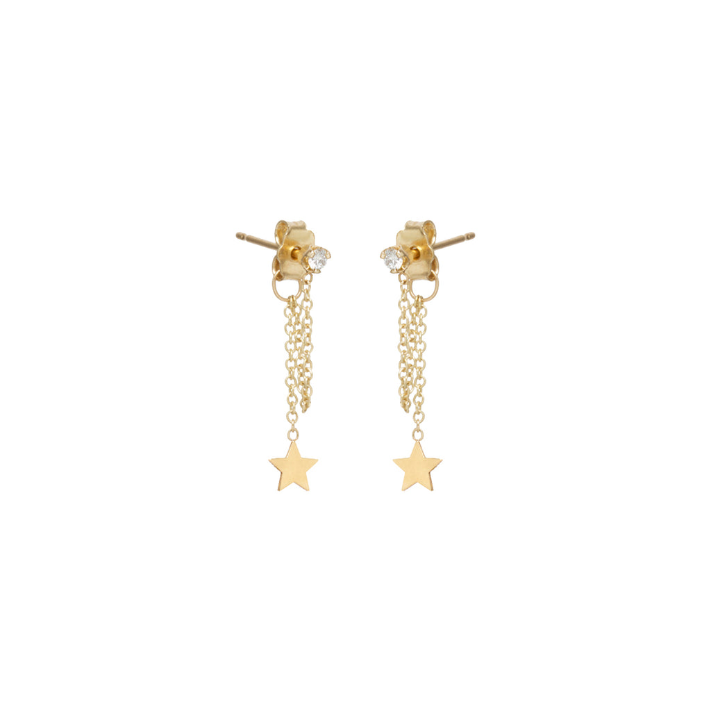 14k itty bitty star & diamond chain stud earring