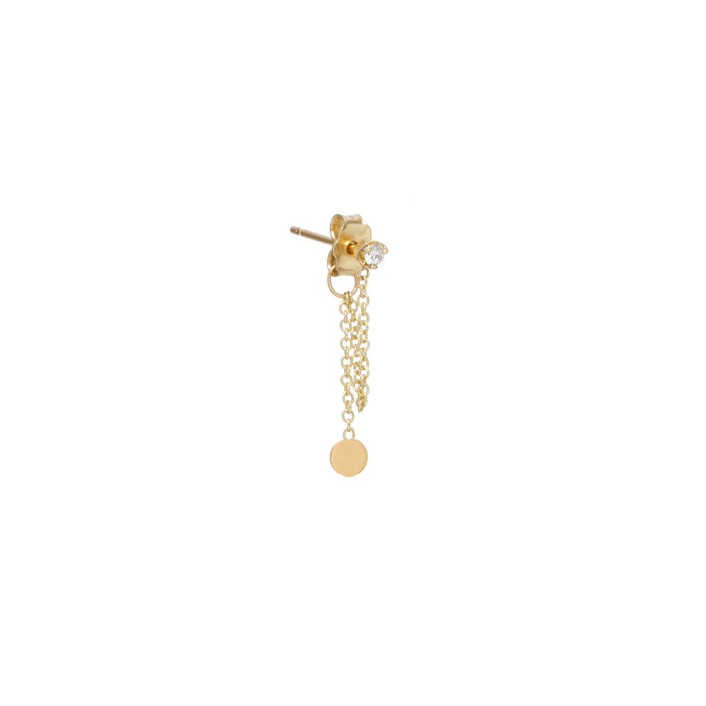 14k itty bitty disc & diamond chain stud earring