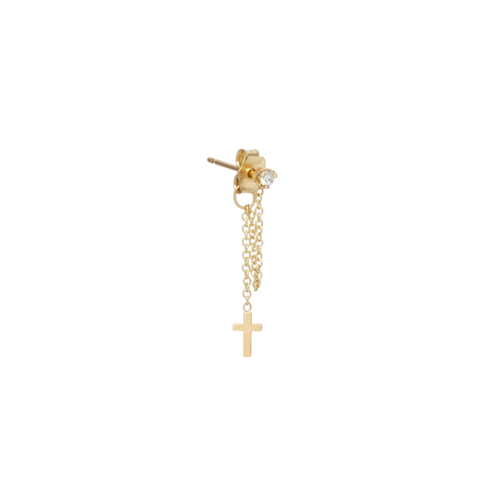 14k itty bitty cross & diamond chain stud earring