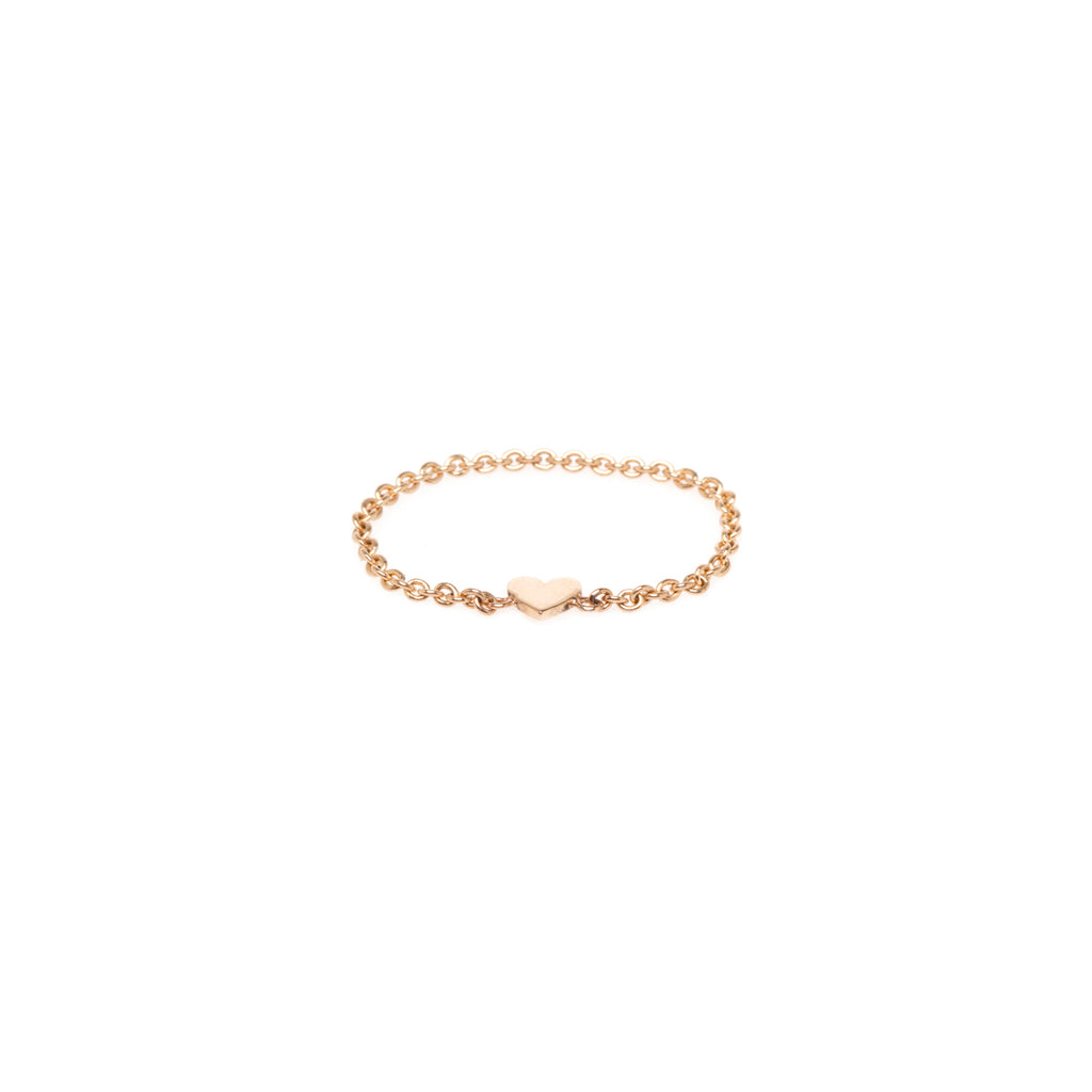 14k itty bitty heart chain ring