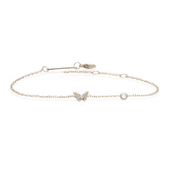 14k itty bitty butterfly bracelet with floating diamond
