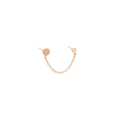 14k itty bitty disc & diamond chain double stud earring