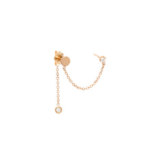 14k gold disc double stud earring with diamond drop