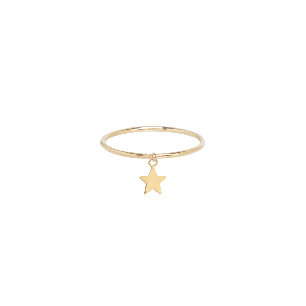 14k itty bitty star charm ring