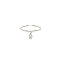 14k itty bitty single diamond hamsa charm ring