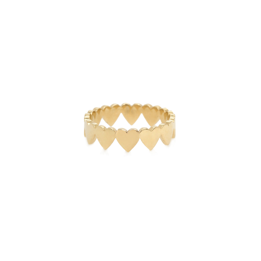 14k itty bitty heart eternity ring