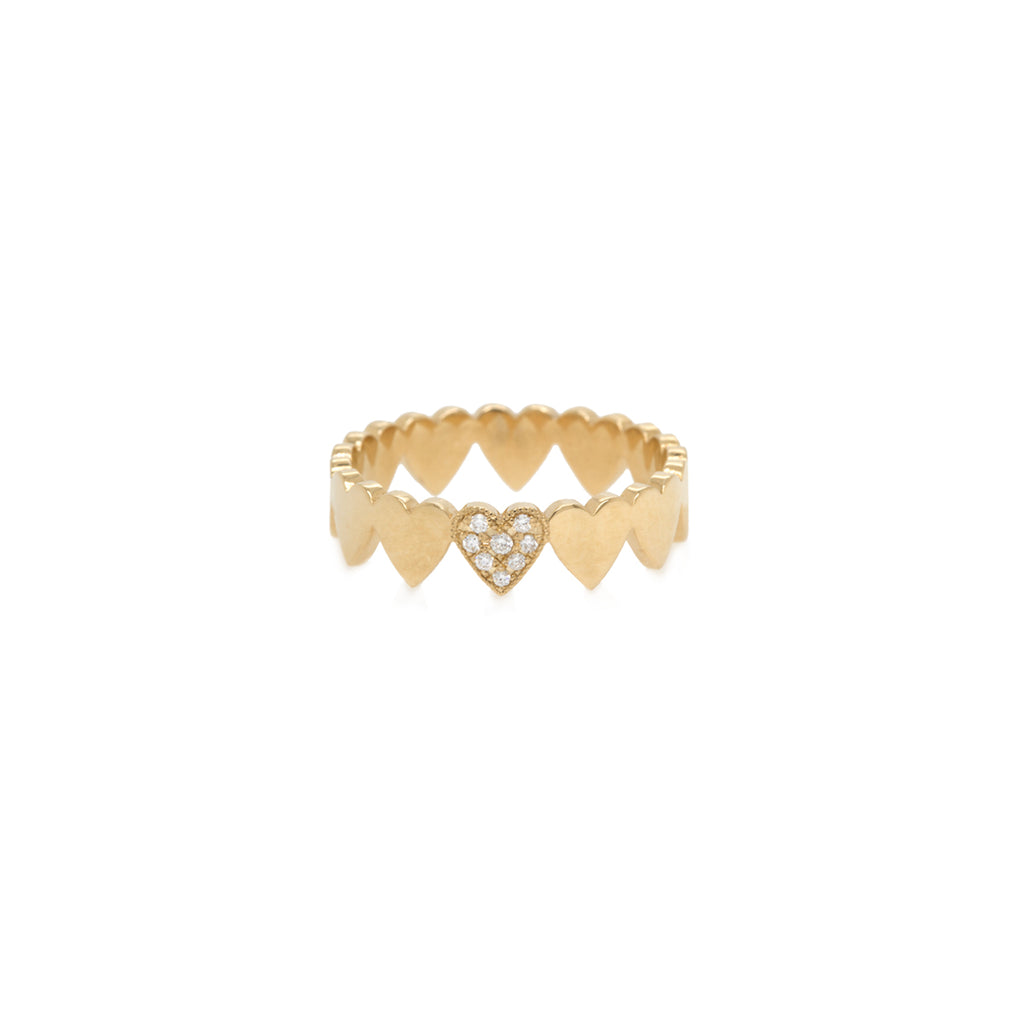 14k itty bitty pave diamond heart eternity ring