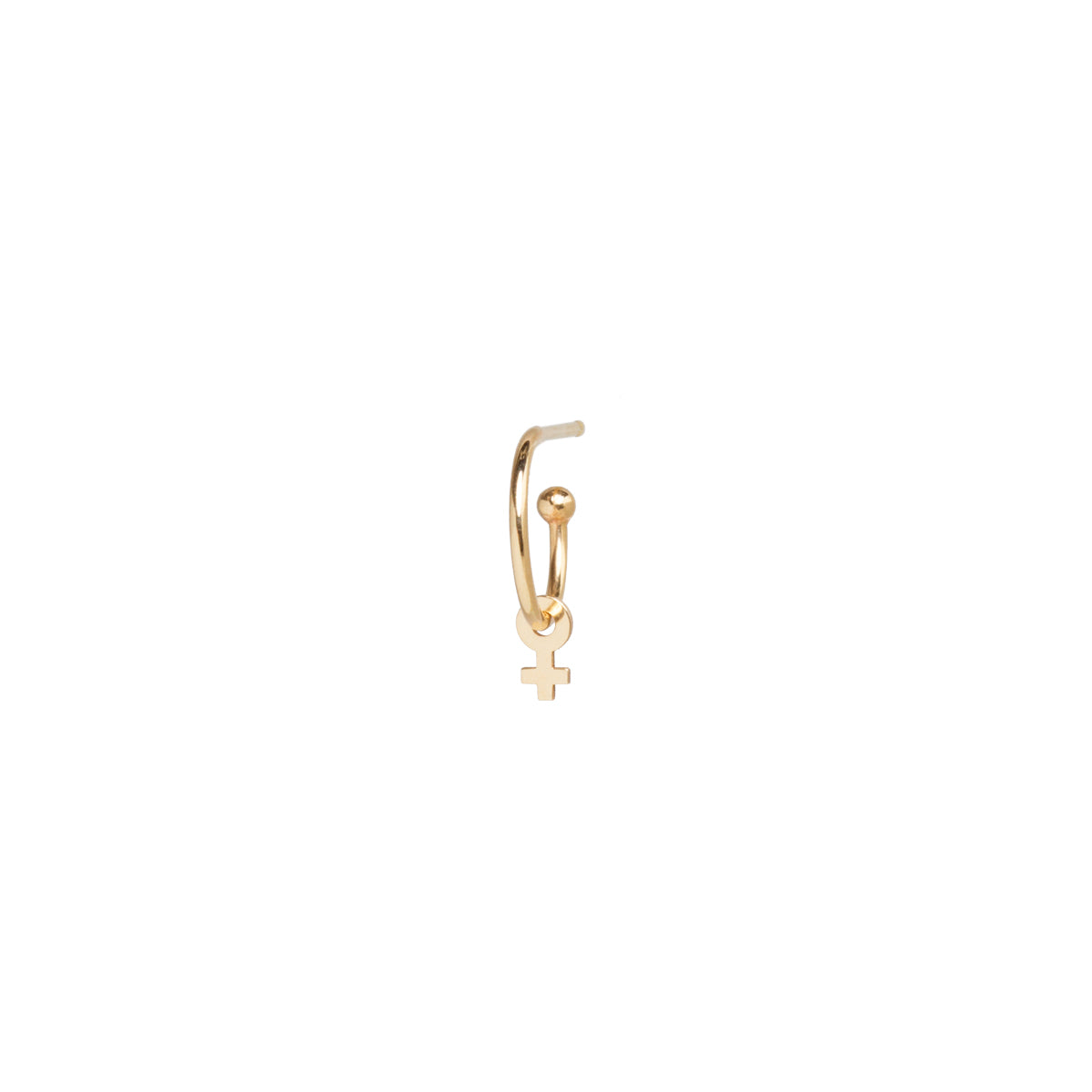 14k dangle itty bitty female symbol charm huggie hoop