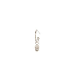 14k dangle itty bitty skull charm huggie hoop