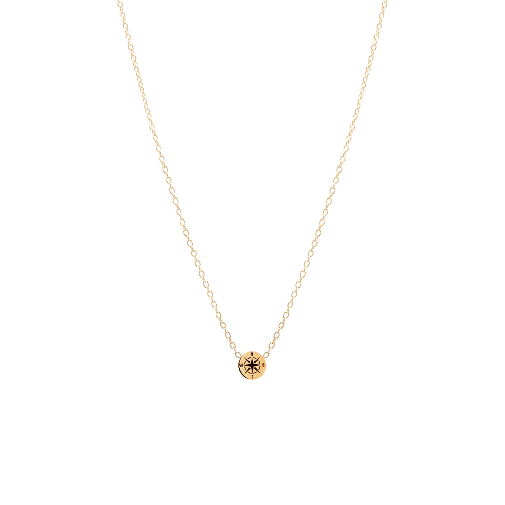 14k itty bitty compass necklace