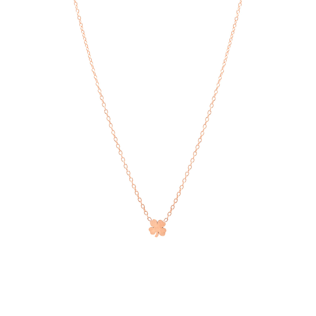 14k itty bitty clover necklace