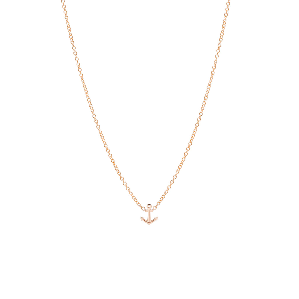 zoe chicco yellow gold anchor charm necklace