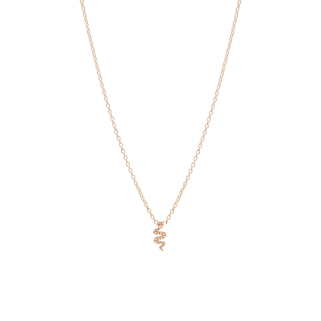 yellow gold snake charm necklace