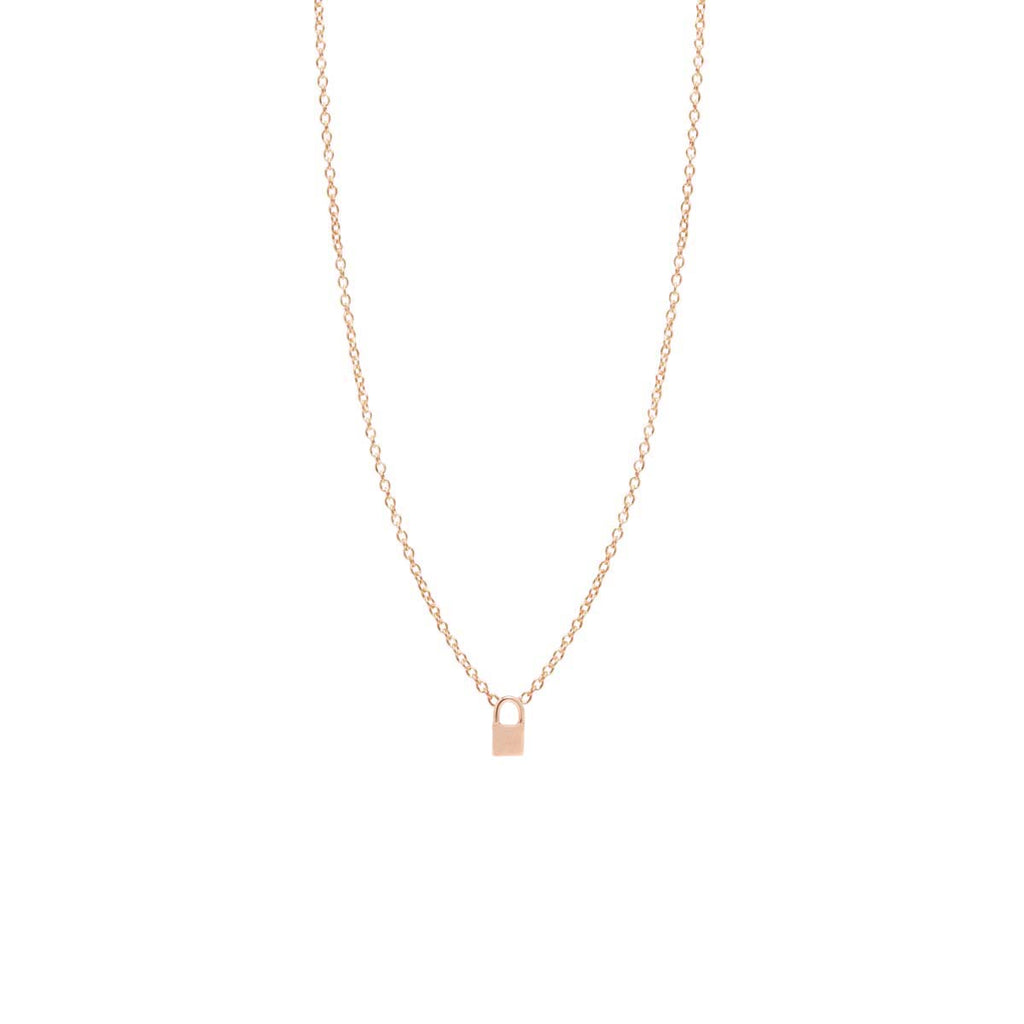 Zoë Chicco 14kt Yellow Gold Itty Bitty Padlock Necklace