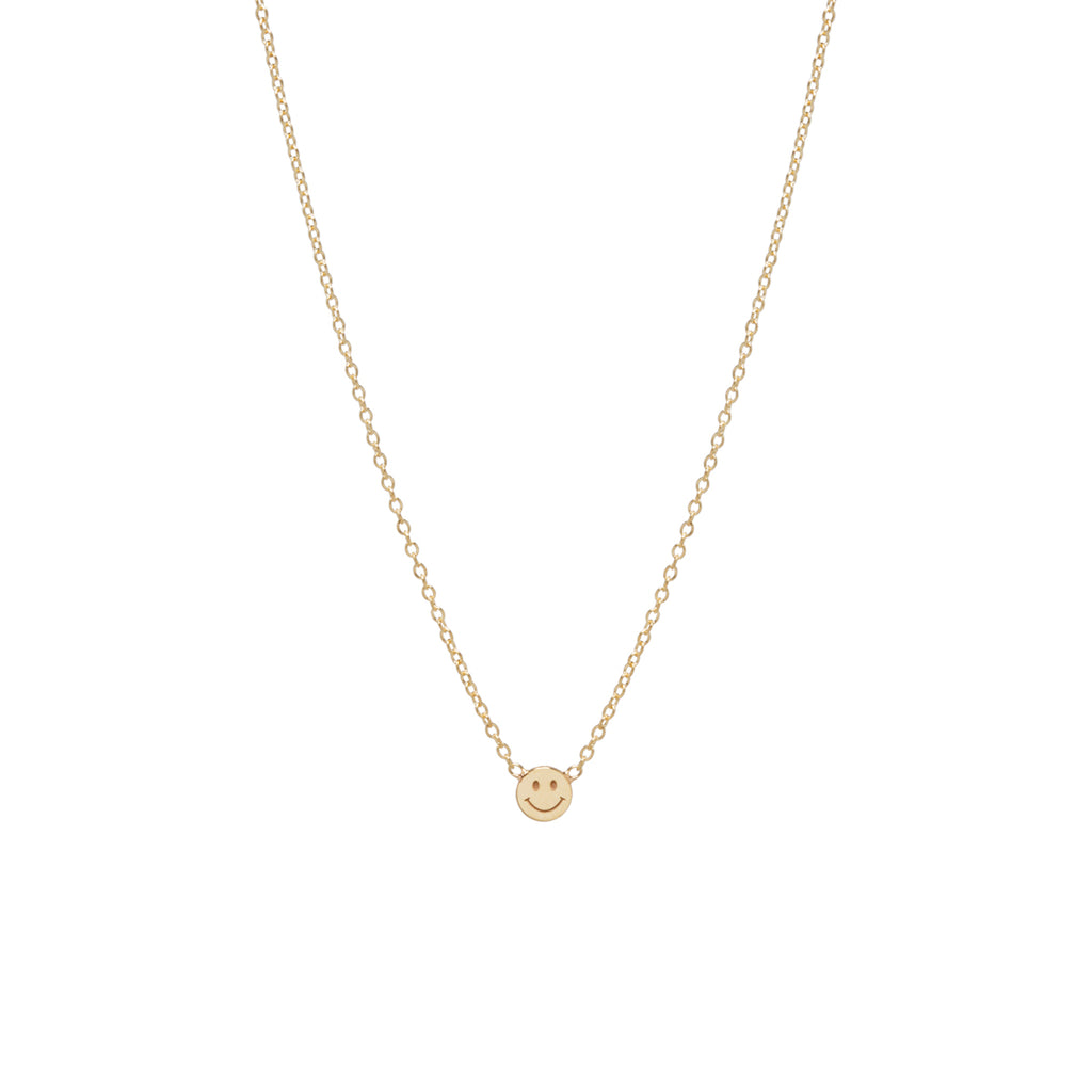 14k itty bitty smiley face necklace