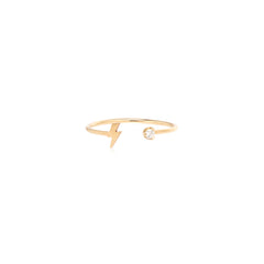 14k gold prong diamond and itty bitty lightning bolt open ring