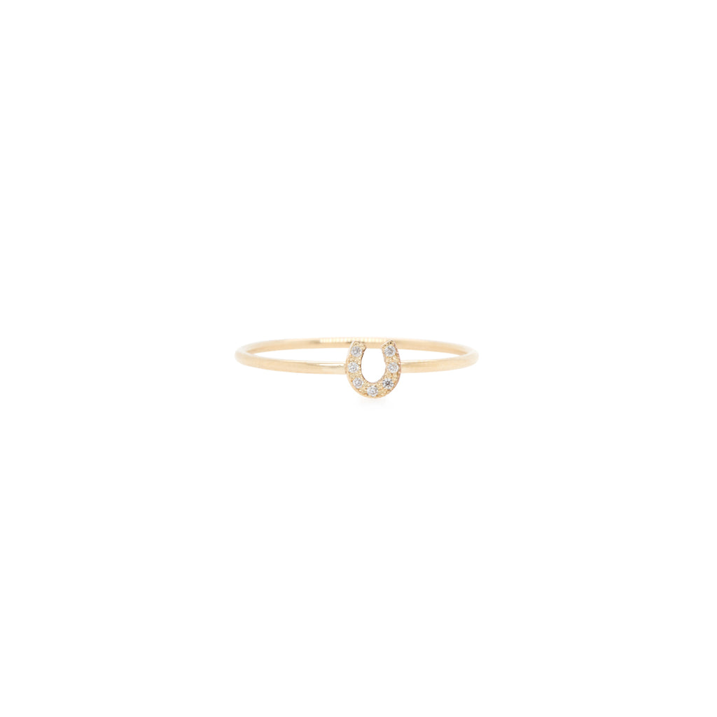 14k pave diamond itty bitty horseshoe ring