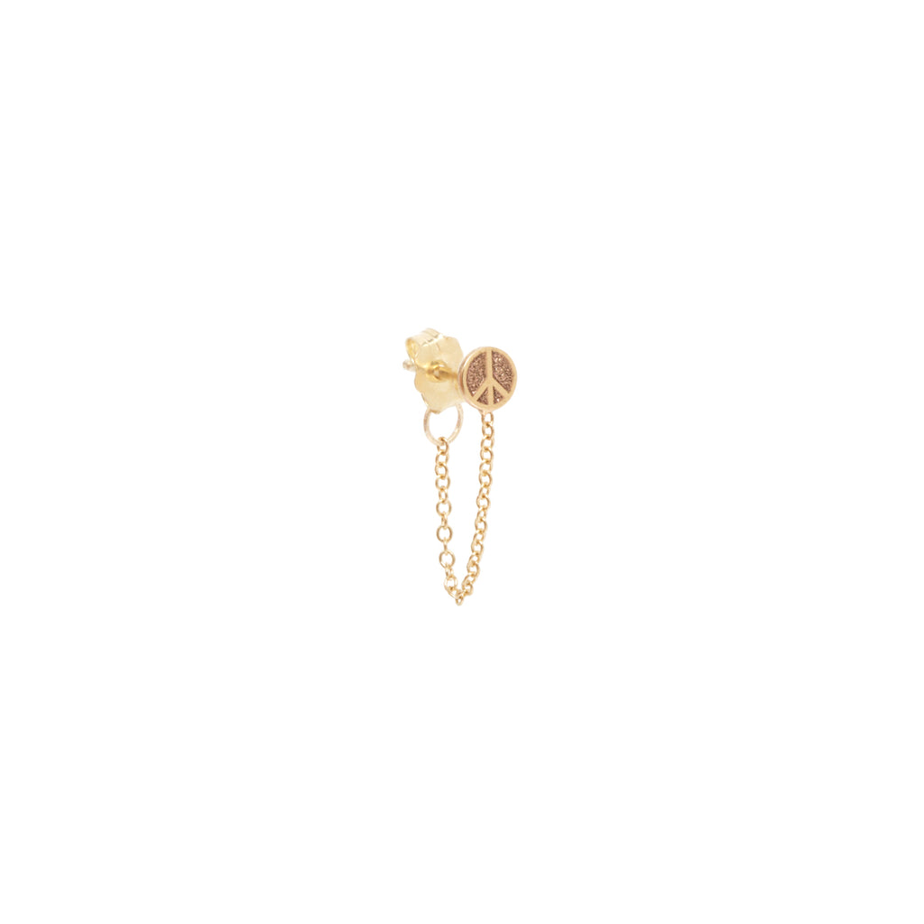 14k itty bitty peace sign chain stud earring