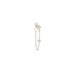 14k itty bitty pave cross & diamond chain double stud earring