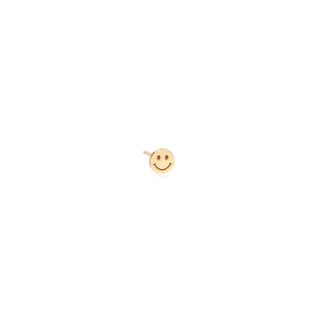 14k itty bitty smiley face stud