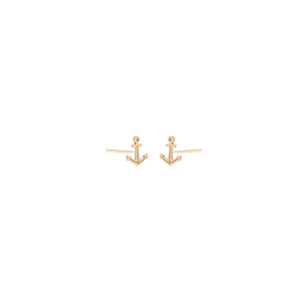 single yellow gold anchor stud earring